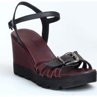 Markazen Tokalı Deri Dolgu Topuklu Ayakkabı - Bordo