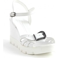 Markazen Tokalı Deri Dolgu Topuklu Ayakkabı - Beyaz