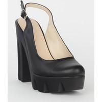 Markazen Kalın Topuklu Ayakkabı - Siyah