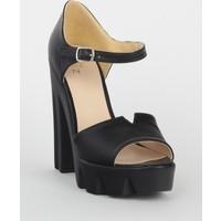 Markazen Bilekten Tokalı Kalın Topuklu Ayakkabı - Siyah