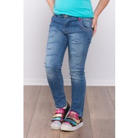 Ottomama Kız Çocuk Lazer Kesimli Kot Pantolon Mavi Renk