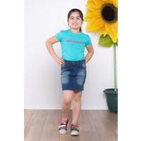 Ottomama Kız Çocuk Nakışlı Etek Mavi Renk