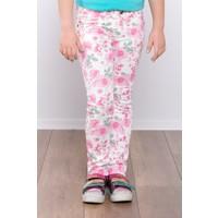 Ottomama Kız Çocuk Gül Desenli Pantolon Beyaz Renk