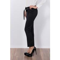 Modaverda Bayan Saten Kuşaklı Pantolon Siyah Renk