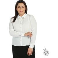 Modaverda Yakası Broşlu Bayan Gömlek Beyaz