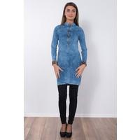 Modaverda Bayan Arkası Nevrüllü Havlu Yıkama Kot Tunik