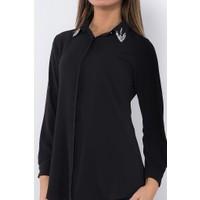 Modaverda Bayan Kabe Elişli Fermuarlı Gömlek Siyah Renk