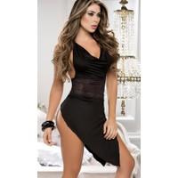 Merry See 5134 Siyah Arkası Açık Derin Yırtmaçlı Elbise