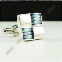 Extore Kol Düğmesi Klasik Kareler Mavi Kd457