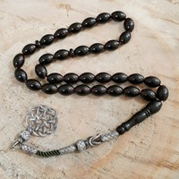 Chavin Gümüş Kazaz İmameli Orjinal Kehribar Tesbih khv67