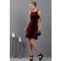 İroni Kadife Halter Yaka Şifon Detaylı Bordo Mini Elbise