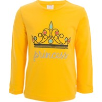 Soobe Pop Girls Taç Baskılı Uzun Kol T-Shirt Sarı (3-7 Yaş)