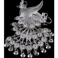 Akyüz Gümüş Tavus Kuşu İşlemeli Telkari Gümüş Broş Brs016
