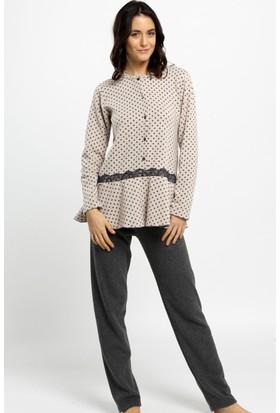 Ayyıldız 1781 Antrasit Renk Puantiyeli Polar Pijama Takımı