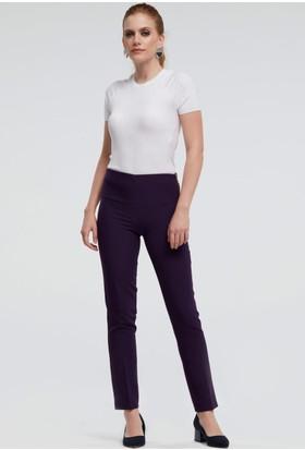 İroni Beli Lastikli Bilekte Mor Pantolon