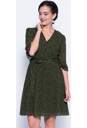 İroni İspanyol Kol Yeşil Şifon Elbise