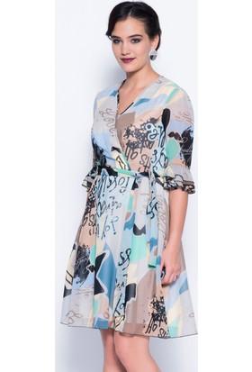 İroni İspanyol Kol Mavi Şifon Elbise