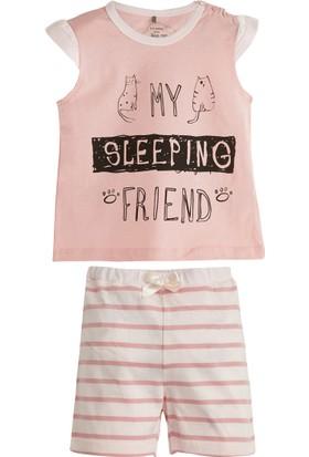 Soobe Pembe Çizgili Kısa Kol Şort Pijama Takımı Pembe 15 - 18 Ay