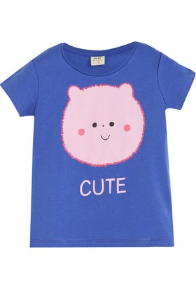 Soobe Pop Girls Sevimli Domuzcuk Kısa Kol T-Shirt Pulm Blue 9 Yaş
