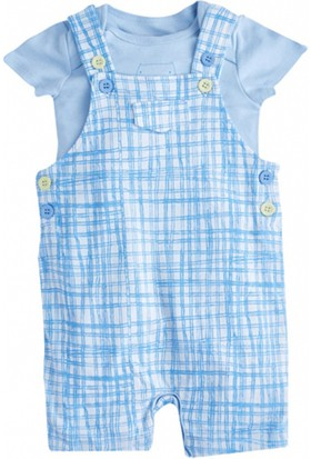 Soobe Mr Cat Kısa Kol T-Shirt Salopet Set Açık Mavi