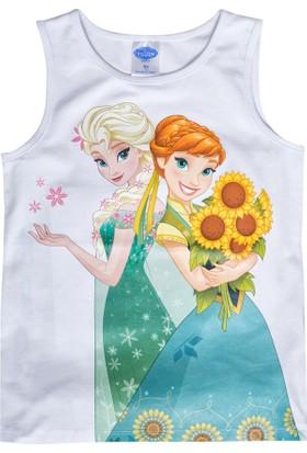 Soobe Lisanslı Disney Frozen Kolsuz T-Shirt Beyaz 7 Yaş