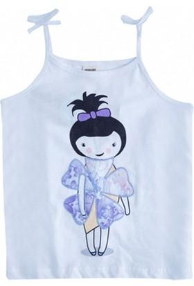 Soobe Monets Garden Askılı T-Shirt Beyaz 6 Yaş