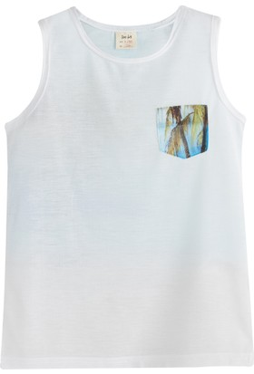Soobe Pop Boys Cep Detaylı Palmiye Kısa Kol T-Shirt Beyaz 7 Yaş