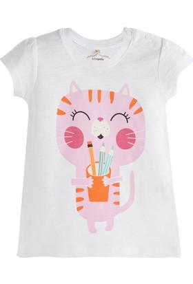 Soobe Pop Girls Mutlu Kedi Kısa Kol T-Shirt Beyaz 6 - 9 Ay