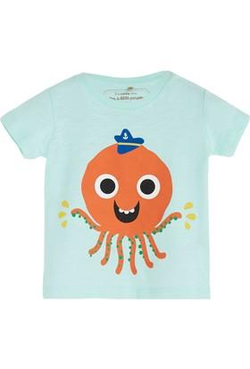 Soobe Pop Boys Şapkalı Ahtapot Kısa Kol T-Shirt Buz 6 - 9 Ay