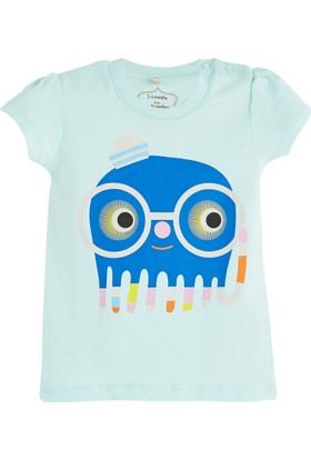 Soobe Pop Girls Gözlüklü Canavar Kısa Kol T-Shirt Buz 6 - 9 Ay