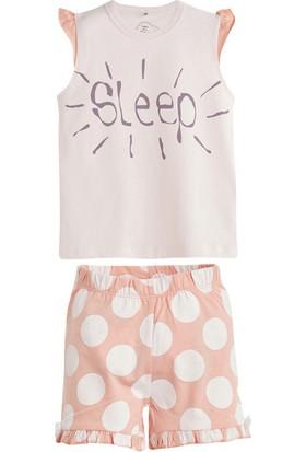 Soobe Puantiyeli Kısa Kol Pijama Takımı Ekru 5 Yaş
