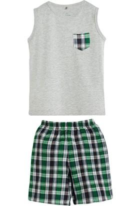 Soobe Lacivert Ekoseli Kolsuz T-Shirt Şort Pijama Takımı Gri Melanj 9 Yaş