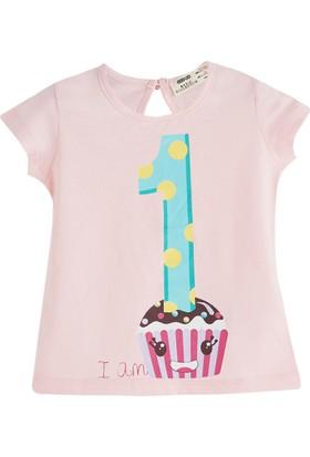 Soobe Pop Girls Pasta Desenli Kısa Kol T-Shirt Su Mavi 9 - 12 Ay