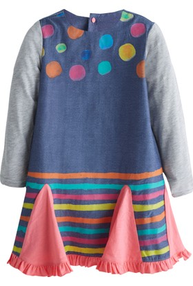 Soobe Mini Mix 2 Benekli Uzun Kol Elbise 3 Yaş