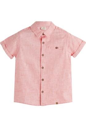 Soobe Pop Boys Erkek Çocuk Kol Ve Ense Detaylı Kısa Kol Gömlek Mercan