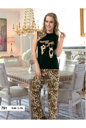 Derya Kurşun 791 Leopar Bayan Pijama Takım