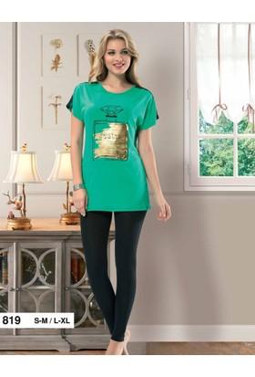 Derya Kurşun 819 Bayan Yeşil Pijama Takım
