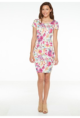 So Sugar Mini Aykol Sırt Dekolteli Çiçekli Elbise