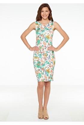 So Sugar Midi Kolsuz Çiçekli Elbise