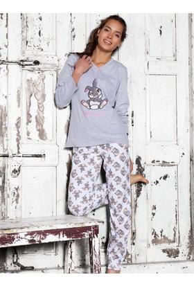 Ayyıldız 58946 Gri Tavşan Desenli Kadın Pijama Takımı