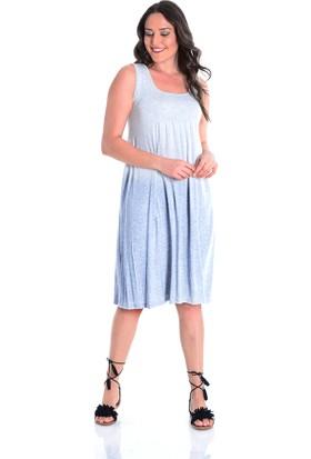 Tepa Gri Büyük Beden Elbise