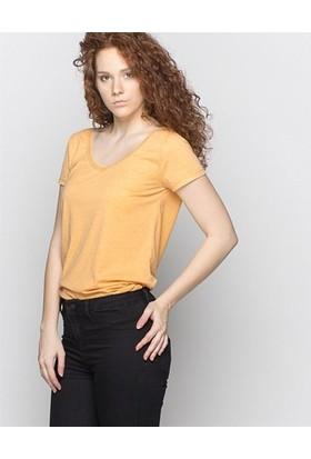 Only Kadın Hardal V Yakalı Melanj Loose Fit Basic T-Shirt