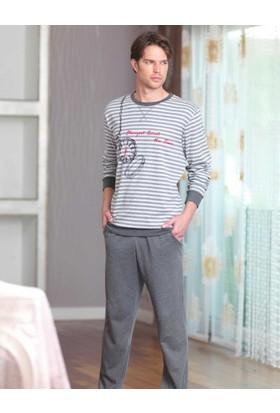 Şahinler Baskılı Erkek Pijama Takımı Gri MEP23201-1