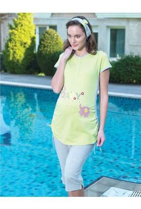 Şahinler Lohusa Pijama Takımı BABY Baskılı Yeşil MBP21744-2