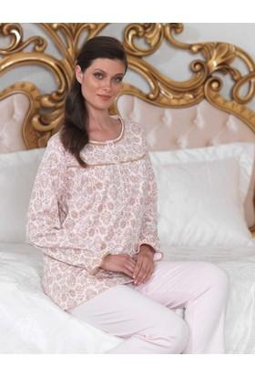 Şahinler Düğmeli Bayan Pijama Takımı Pembe MBP23104-2