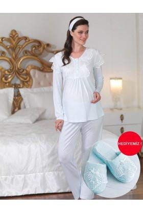 Şahinler Dantelli Lohusa Pijama Takımı Mavi (Terlik) MBP23122-2