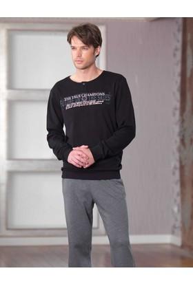 Şahinler Baskılı Erkek Pijama Takımı Siyah MEP23227-1