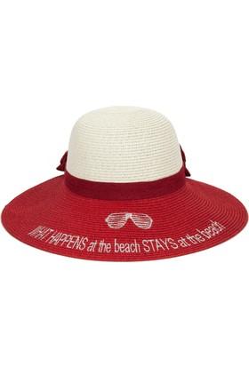 Bonalodi What Happens At The Beach Stays At The Beach Tepe Beyaz Alt Kısım Kırmızı