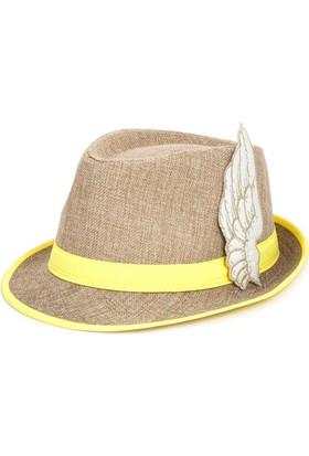 Bonalodi Sarı Melek Kanatlı Fötr Şapka