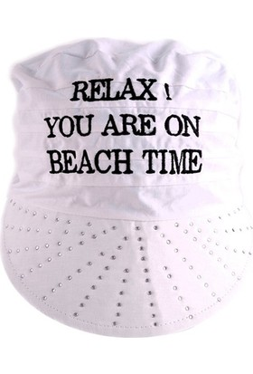 Bonalodi Beyaz Relax! You Are On Beach Time Taşlı Bandana